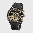 PIONIER GM-505 商務型男機械款男士鋼帶手錶 -黑色 505-6