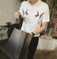 【JP.美日韓】韓國 刺繡 小鳥 燕子 POLO衫 上衣 短袖 質感 高端設計 動物 老虎 設計