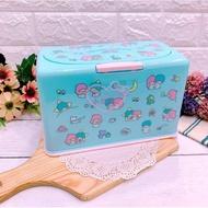♥小公主日本精品♥雙子星藍色滿版圖口罩收納盒收納箱彩色點點好按壓日本限定現貨