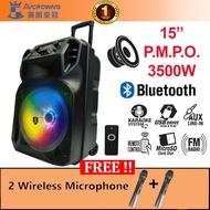 Avcrowns 15 Inch Portable Trolley Speaker Hi-Fi Karaoke System Bluetooth Dual Speaker Free 2 Wireless Microphone