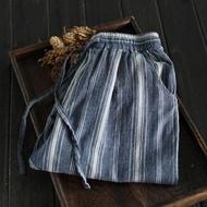 【設計所在】寬鬆繫帶棉麻條紋休閒哈倫褲九分褲K1018(F)