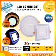 {2 YEAR WARRANTY}LED Downlight 12w+4w / 6w+3w 4inch 6inch LED Colour Downlight LED recess downlight (White + Warm / Whit