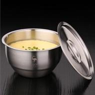 【PUSH!】餐具加厚304不鏽鋼碗帶蓋碗蒸蛋泡麵碗蒸飯燉湯盅碗帶蓋(E129)