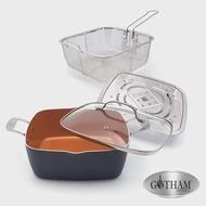 【美國GOTHAM】鈦金陶瓷多功能雙耳方型不沾鍋具4件組28cm-電磁爐適用