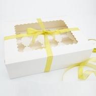 【純白12格裝下標區8入】開窗 杯子蛋糕盒 6寸芝士蛋糕盒 包裝盒 馬芬盒 6寸 蛋糕盒 布丁盒 蛋塔盒 餅乾盒 奶酪