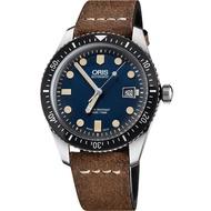 【ORIS】Divers Sixty-Five 1965 復刻潛水機械腕錶-藍x棕/42mm(0173377204055-0752102)