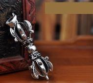 銀飾品 複古泰銀 避邪金剛杵吊墜 男士 降魔杵 法器
