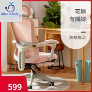 【Blue whale 🐋】 Office Ergonomic Chair with Pedal Computer Chair Gaming Chair Swivel Home Study Chair  (Office Chair/Office Chair Base/Kerusi Pejabat)