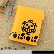 海賊王 羅-黃色 動漫 短款PU皮 反扣 拉鍊 錢包 皮包 皮夾 卡包 零錢包 生日禮物