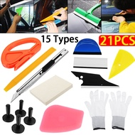【21pcs/set】(With Gl0ves) Car Foil Tool Wrap Vinyl Cutter Razor Scratch-free Magnet Holder Squeegee Scraper Kit For PVC Film Window Mirror Wall Sticker-Effectively remove air bubble