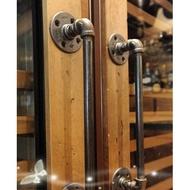 工業風鐵藝水管把手 30公分LOFT鄉村美式鐵管復古做舊風格 個性化商品穀倉門可用