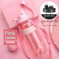 1L 2L 3L Large Capacity Sports Water Bottle Portable Debris Water Cup With Straw Outdoor Camping Picnic Climbing Water Bottle