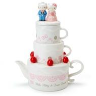 Hello Kitty 結婚 陶製 茶具組 附 濾網 草莓 造型 茶壺 茶杯 三麗鷗 日貨 正版 授權 L00010318