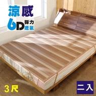 【BuyJM】6D涼感彈力透氣亞藤涼蓆/涼墊/單人3x6.2尺(2入組)