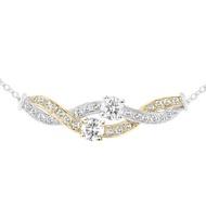 1克拉圓形18K白K金鑽石項鍊 VS2/I