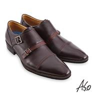 【A.S.O 阿瘦集團】職場通勤 菁英通勤異材拼接孟克紳士鞋(咖啡)