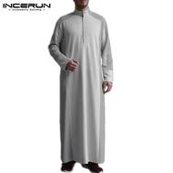 Sempurna INCERUN Kaftan Arab Saudi Lengan Panjang Pria INCERUN Muslim Jubba Abaya Kaftan