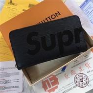 M67548 M60072 LV與Supreme聯名拉鏈錢夾 LV長夾 supreme絲印水波紋拉鏈長夾男女錢夾錢包卡夾
