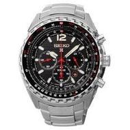 SEIKO Prospex Solar Chronograph GMT นาฬิกาข้อมือผู้ชาย สีเงิน/ดำ สายสแตนเลส รุ่น SSC261P1
