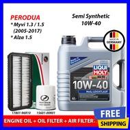 Liqui Moly Mos2 10W40 Semi Synthetic Engine Oil (4L) + Oil Filter + Air Filter - Perodua Myvi 1.3/1.5 (2005-2017) & Alza 10W-40