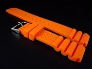 168錶帶配件 20mm蛇腹式矽膠錶帶替代原廠搶錢貴貨citizen,seiko潛水錶帶/超值高質感橘色