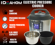 🔥READY STOCK🔥 IDEAHOM ELECTRIC PRESSURE COOKER / Fast Cooking / Non-Stick 6L Inner Pot / FREE Stainless Steel 6L Inner Pot