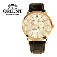 Orient Men Leather Sun And Moon Sapphire Crystal Automatic Watch ORFETOP001W