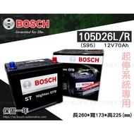 全動力-BOSCH 博世 日規電池 起停系統 105D26L 100D26R (12V70Ah)S95 直購價 80D