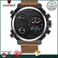 Original KADEMAN K156 Men Watches New Luxury LCD Display Leather Wristwatches 3ATM Digital Quartz Sport Watch