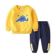 【Baby 童衣】任選 兒童套裝 長袖休閒套裝 運動套裝88224(黃色上衣-恐龍)