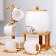 水壺套裝 帶水龍頭的涼水壺冷水壺陶瓷套裝家用大容量杯具高溫茶壺大號復古 名創家居館DF