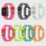 Clear Band Case For Apple Watch Series 6 SE 5 4 44mm 42mm Transparent For Iwatch Strap 3 2 1 38mm 40mm Plastic Strap