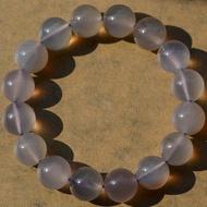 水晶 原色珠 灰紫玉髓瑪瑙手鏈 俏色 女生飾品 12mm