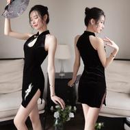 Women's Oriental Temperament Retro Cheongsam Side Split Sexy Embroidery Set