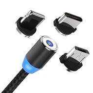 สายชาร์จแม่เหล็กกลม LED 1M สำหรับ Type C & Micro USB และ Lightning Phone