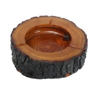 Round brown wood smoke ashtray tobacco cigarette ash holder 9-10cm