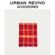 URBAN REVIVO Spring and Summer Youth Women's Accessories Color Block Check Scarf