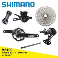 New SHIMANO DEORE M5100 Fovno Groupset 1x11 Speed MTB Fovno 170mm 175mm 32T Crankset M5100 Shifter Rear Derailleur M5100 11-42T or Sunrace CSMS8 11-51T Cassette or Sunshine 11-46T 11-50T Cassette KMC X11 Chain For Mountain Bike