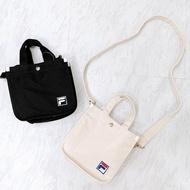 FILA BUCKET BAG 黑 米白 刺繡 小LOGO 手提 斜背 便當袋 側背包 帆布袋 DOT聚點