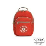 【KIPLING】時髦亮橘色復古LOGO機能手提後背包-SEOUL S