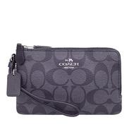 COACH 經典LOGO雙層手拿包 防刮PVC皮革 零錢包 手機包 手拿包 87591 黑灰色(現貨)