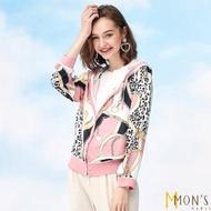 【MON'S】精品印花冰涼頂級蠶絲外套