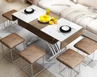 升降茶几 茶幾簡約小戶型長方形鋼化玻璃可伸縮儲物多功能升降茶幾餐桌兩用