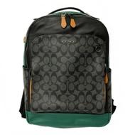 COACH 男款雙口袋休閒後背包(大款-黑灰/綠)
