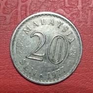 koin asing 20 sen Malaysia 1977 TP 3381