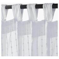 ผ้าม่านคู่ ม่านสำเร็จรูปแบบคอกระเช้า ผ้าม่านโปร่ง1คู่,สีขาวเดินลาย (W140 H250 cm.) 1pair Sheer curtains, 1 pair, white
