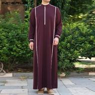 (Muslim) INCERUN Pakaian Muslim Pria Jubah Panjang Etnik Arab Hippie Kaftan Saudi Judba