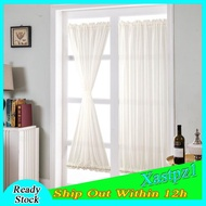 [Ready Stock] White French Door Curtain Panel Rod Pocket Blackout Curtains
