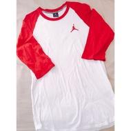正品 飛人喬登Air Jordan 紅白七分袖T恤上衣L號 9成5新