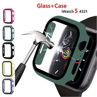 Tempered Glass + Case For Apple Watch 5 4 44mm 40mm i-Watch 3 2 1 42mm 38mm กระจกนิรภัยและเคสป้องกัน Screen Protector+cover bumper apple watch Accessories for men women girls latest model new collection